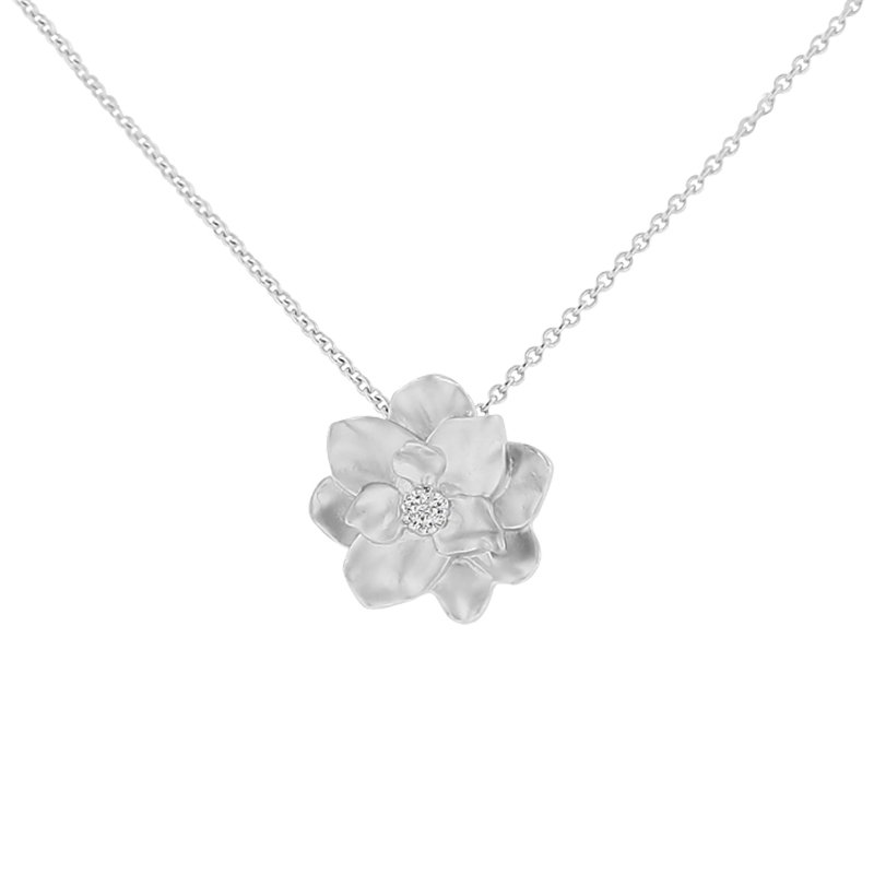 .02ct tw Diamond Nola Collection Magnolia Necklace in Sterling Silver