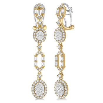 2ct tw Diamond Thousand Points of Light Fashion Earrings in 18K White & Yellow Gold
