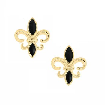 Fleur De Lis Stud Earrings in Yellow Gold Plated Sterling Silver