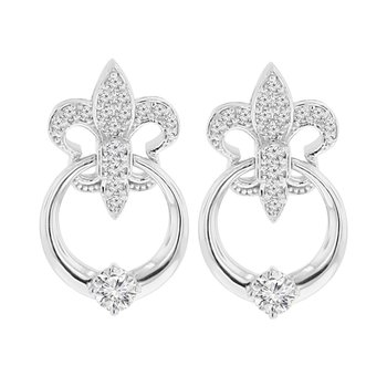 1/2ct tw NewBorn Lab Created Diamond Fleur De Lis Earrings in 14K White Gold