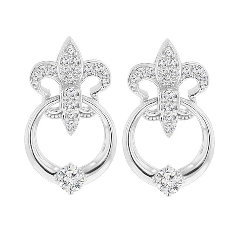 1/2ct tw NewBorn Lab Created Diamond Fleur De Lis Earrings in 14K White Gold