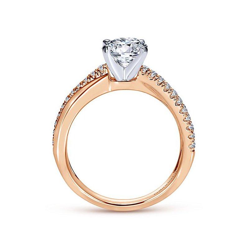 9/10ct tw Diamond Engagement Ring in 14K White & Rose Gold
