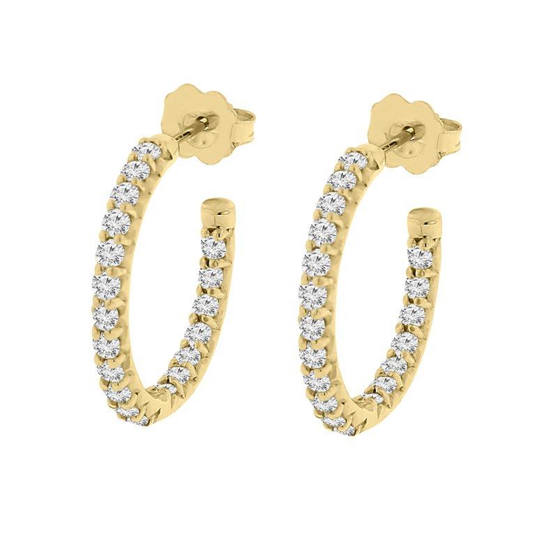 1ct tw Diamond Hoop Earrings in 14K Yellow Gold