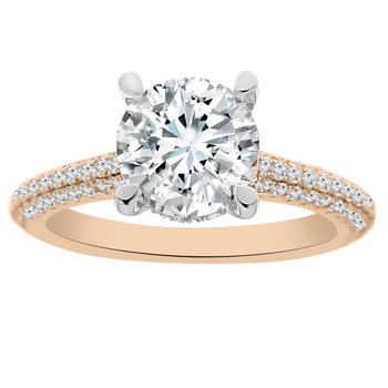 5/8ct tw Diamond Engagement Ring Setting in 14K White & Rose Gold
