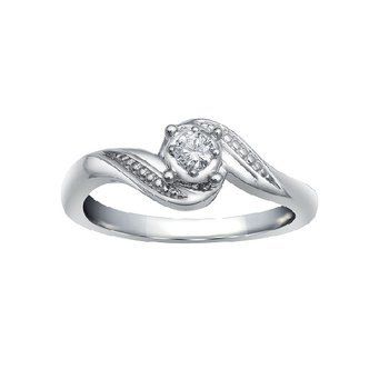 1/10ct tw Diamond Engagement Ring in 10K White Gold