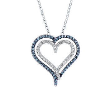1/4ct tw Diamond Heart Necklace in Sterling Silver