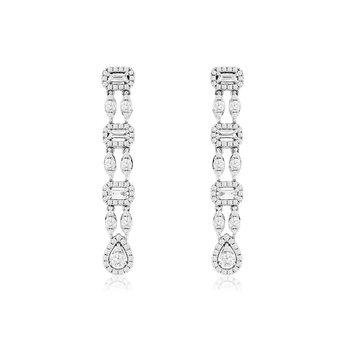 1 1/8ct tw Diamond Halo Fashion Earrings in 14K White Gold