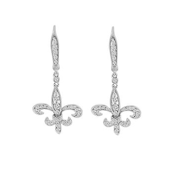 3/4ct tw Diamond Fleur De Lis Earrings in 14K White Gold