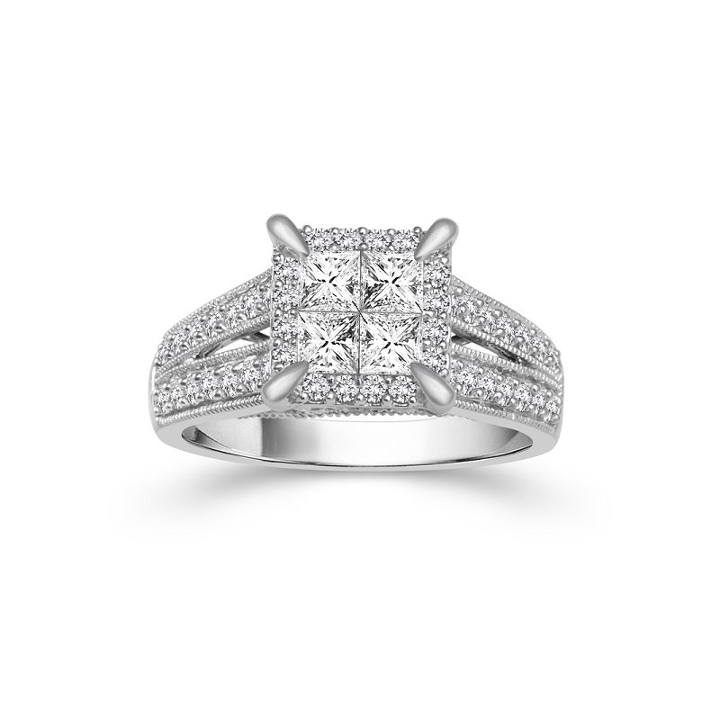 1 1/3ct tw Diamond Fairy Tale Collection Engagement Ring in 14K White Gold