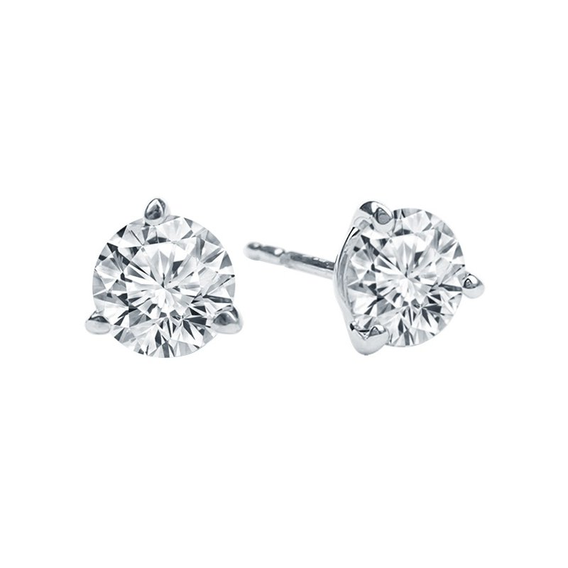 1 3/8ct tw Diamond Solitaire Stud Earrings in 14K White Gold