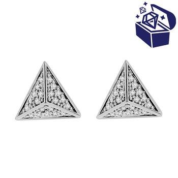 Treasure Hunt Value 1/5ct tw Diamond Pyramid Stud Earrings in 14K White Gold