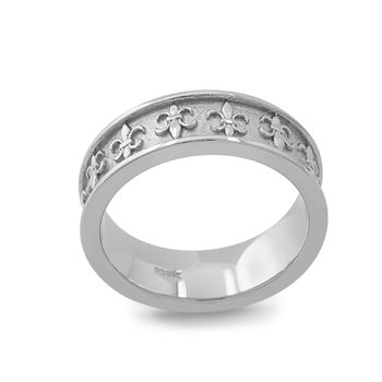 7mm Fleur de Lis Wedding Ring in Palladium