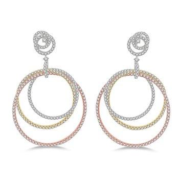 2 1/2ct tw Diamond Three Circle Fashion Earrings in 18K White, Yellow, & Rose Gold