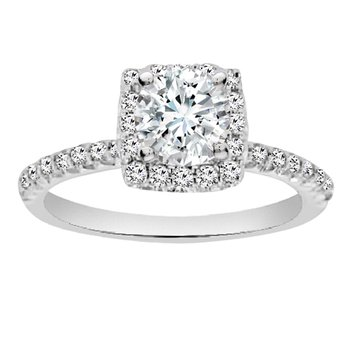 1/3ct tw Diamond Halo Engagement Ring in 14K White Gold