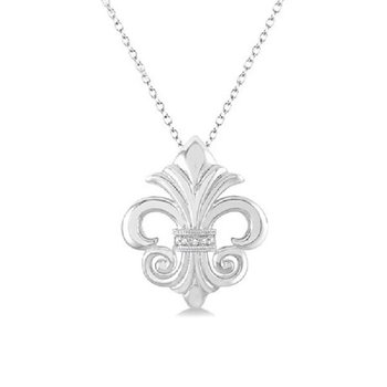 .03ct tw Diamond Fleur De Lis Necklace in Sterling Silver