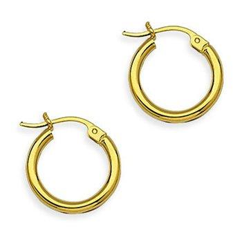 15mm Hoop Earrings in 14K Yellow Gold