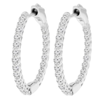 1ct tw NewBorn Lab Created Diamond Hoop Earrings in 14K White Gold
