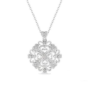 .05ct tw Diamond Heart Necklace in Sterling Silver