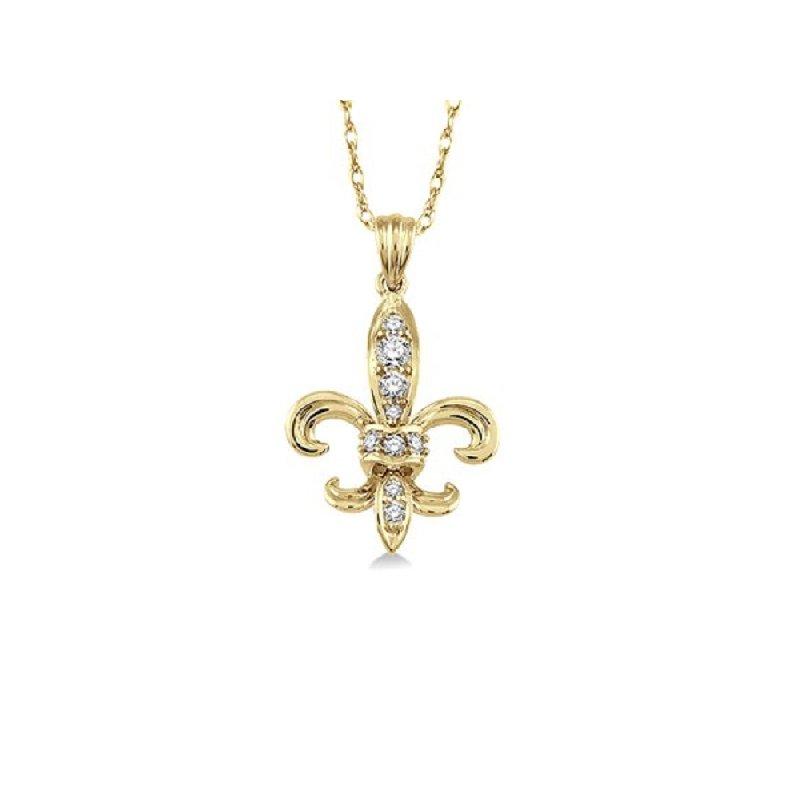1/8ct tw Diamond Fleur De Lis Necklace in 14K Yellow Gold