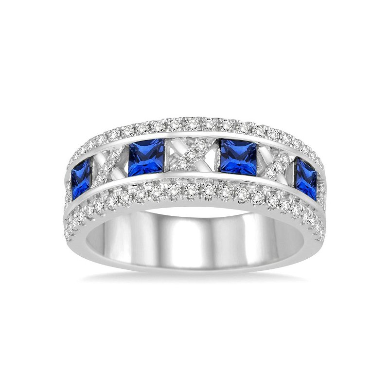 3/8ct tw Diamond & Blue Sapphire Fashion Ring in 14K White Gold