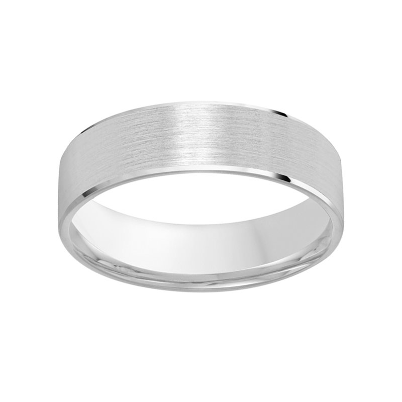 5mm mm Wedding Ring in 10K White GoldMen's 5mm comfort fit wedding ring featuring a satin finish center with polished beveled edges in 10K white gold.