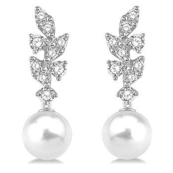 1/3ct tw Diamond & Pearl Fashion Earrings in 14K White Gold