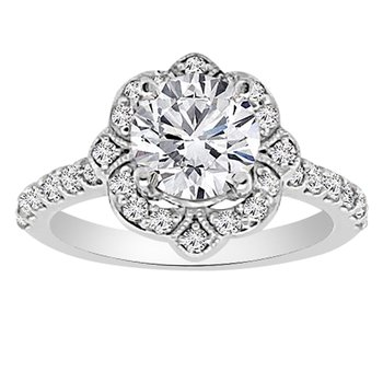1/2ct tw NewBorn Lab Created Diamond Halo Engagement Ring Setting in 14K White Gold