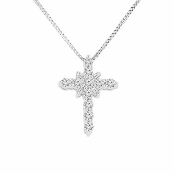 3/8ct tw Diamond Cross Necklace in 10K White Gold