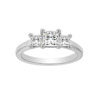 1ct tw Diamond Three Stone Engagement Ring in 19K White Gold