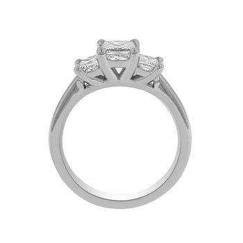 1ct tw Diamond Three Stone Engagement Ring in 19K White Gold