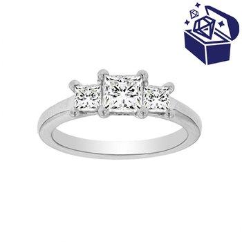 Treasure Hunt Value 1ct tw Diamond Three Stone Engagement Ring in 19K White Gold