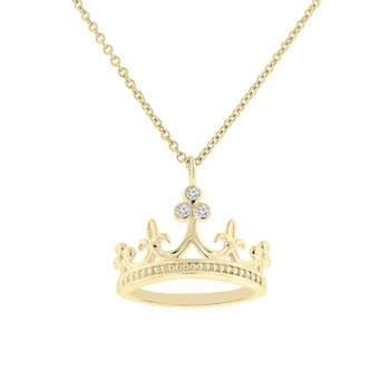 1/14ct tw Diamond Mardi Gras Crown Necklace in 10K Yellow Gold
