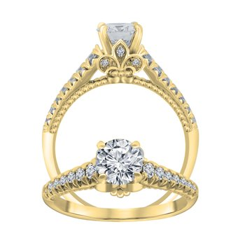 1/4ct tw Diamond Fleur De Lis Engagement Ring Setting in 14K Yellow Gold