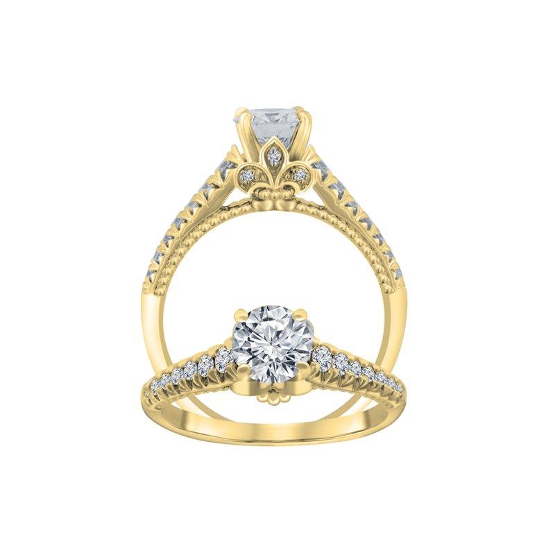 1/4ct tw Diamond Fleur De Lis Engagement Ring Setting in 14K Yellow Gold