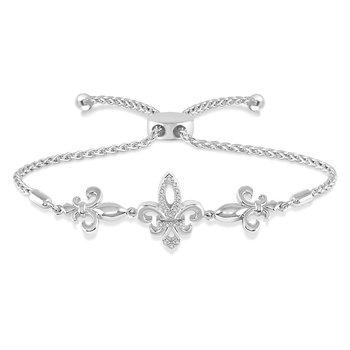 .05ct tw Diamond Fleur De Lis Bolo Bracelet in Sterling Silver