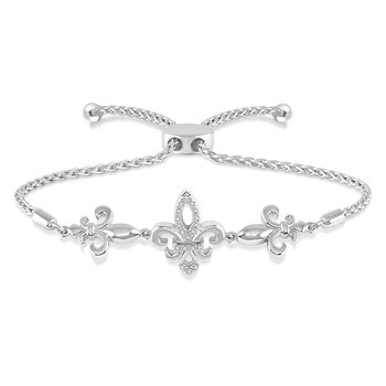 .05ct tw Diamond Fleur De Lis Bolo Bracelet in Sterling Silver