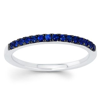1/3ct tw Blue Sapphire Stackable Ring in 14K White Gold