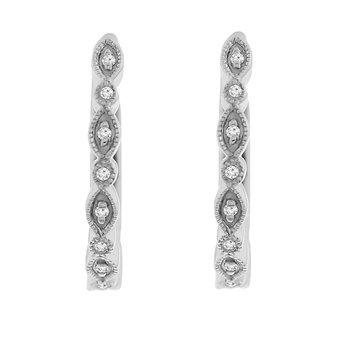1/14ct tw Diamond Hoop Earrings in 14K White Gold