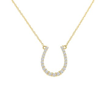 1/4ct tw Diamond Journey Horseshoe Necklace in 10K Yellow Gold