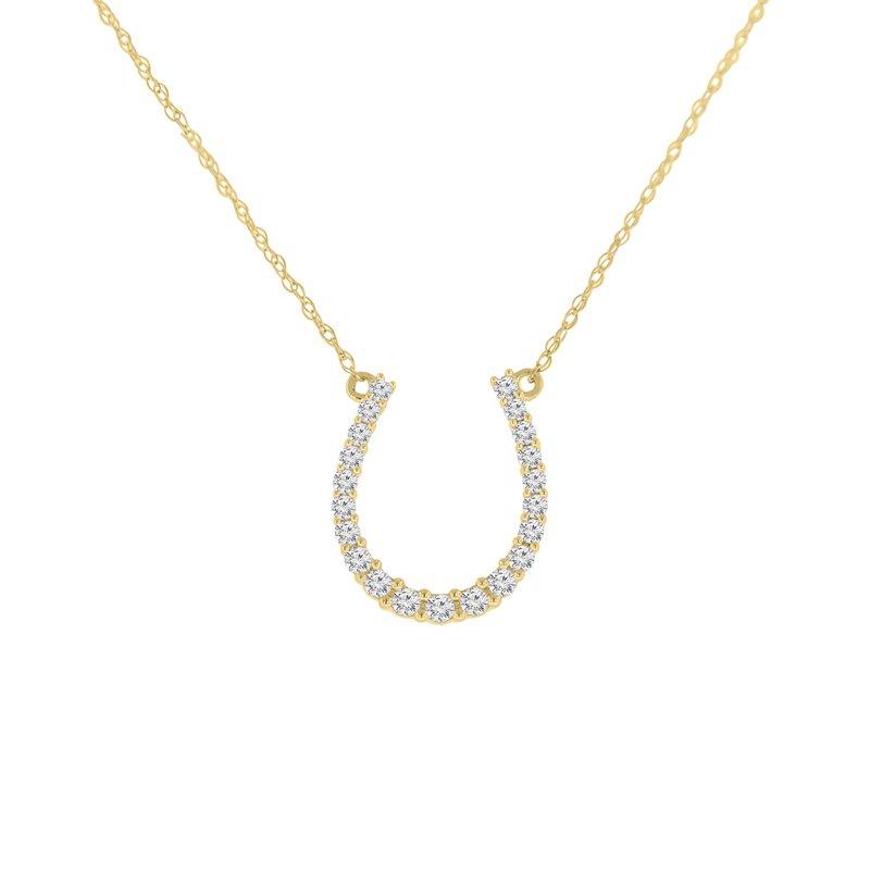 1/4ct tw Diamond Journey Horseshoe Necklace in 10K Yellow Gold