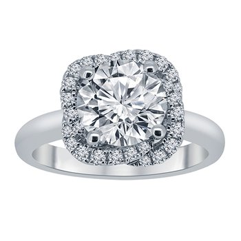 1/5ct tw Diamond Halo Engagement Ring Setting  in 14K White Gold