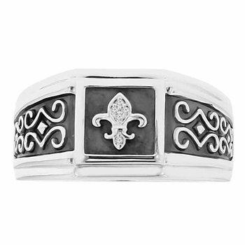 .02ct tw Diamond Fleur De Lis Ring in Sterling Silver & Black Enamel