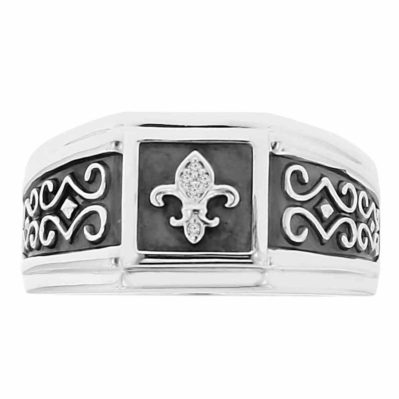 .02ct tw Diamond Fleur De Lis Ring in Sterling Silver & Black Enamel