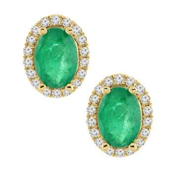 1 5/8ct tw Diamond & Emerald Halo Earrings in 14K Yellow Gold