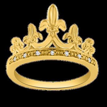 .04ct tw Diamond Mardi Gras Crown Ring in 14K Yellow Gold