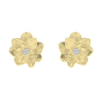.05ct tw Diamond Nola Collection Magnolia Stud Earrings in 10K Yellow Gold