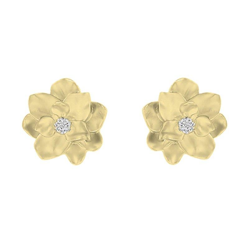 .05ct tw Diamond Nola Collection Magnolia Stud Earrings in 10K Yellow Gold