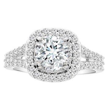 1 1/3ct tw NewBorn Lab Created Diamond Halo Engagement Ring in 14K White Gold