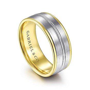 8mm Wedding Ring in 14K White & Yellow Gold
