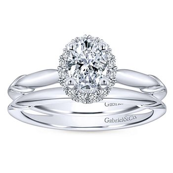 3/8ct tw Diamond Halo Engagement Ring in 14K White Gold